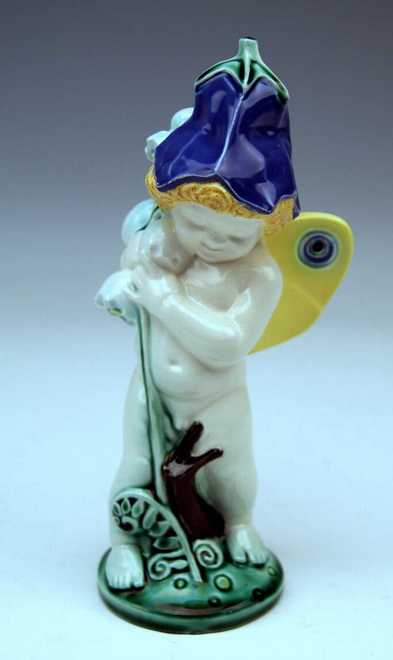 Michael Powolny so-said bellflower cherub most lovely figurine, circa 1910-1912