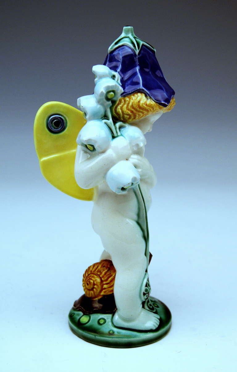 Art Nouveau Michael Powolny Vienna So-Said Bellflower Cherub Lovely Figurine For Sale