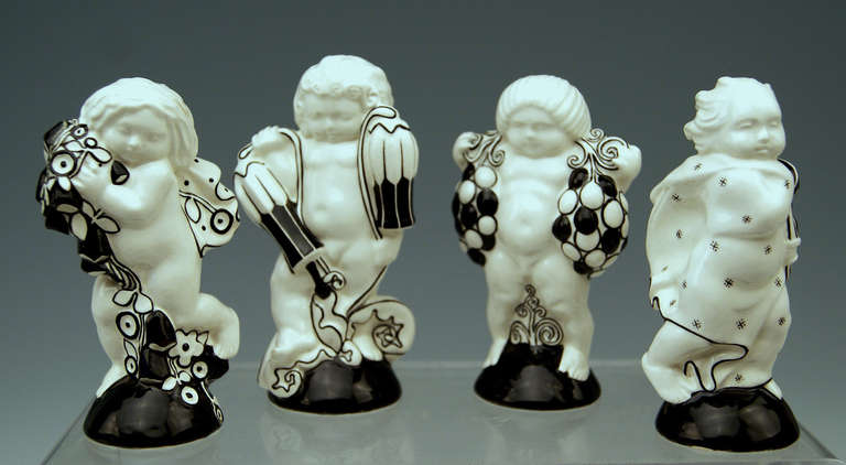 Michael Powolny Four Cherubs Seasons Lovely Figurines Made 1912 2