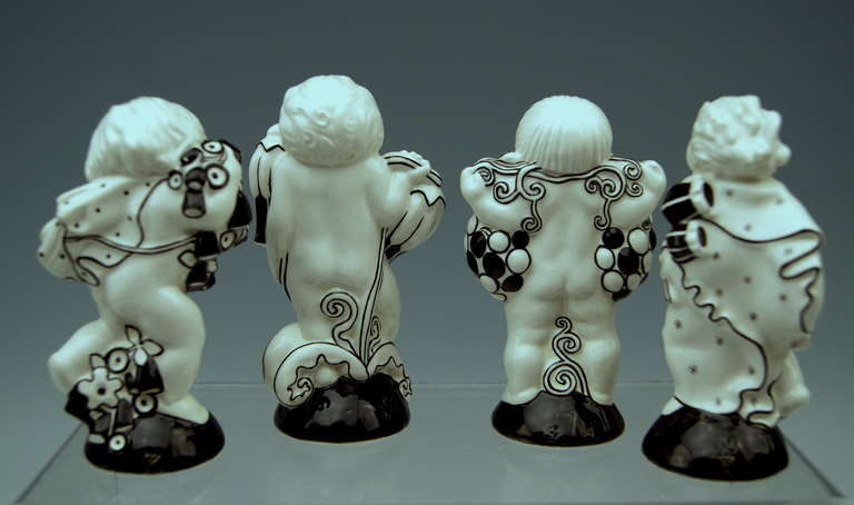 Michael Powolny Four Cherubs Seasons Lovely Figurines Made 1912 3