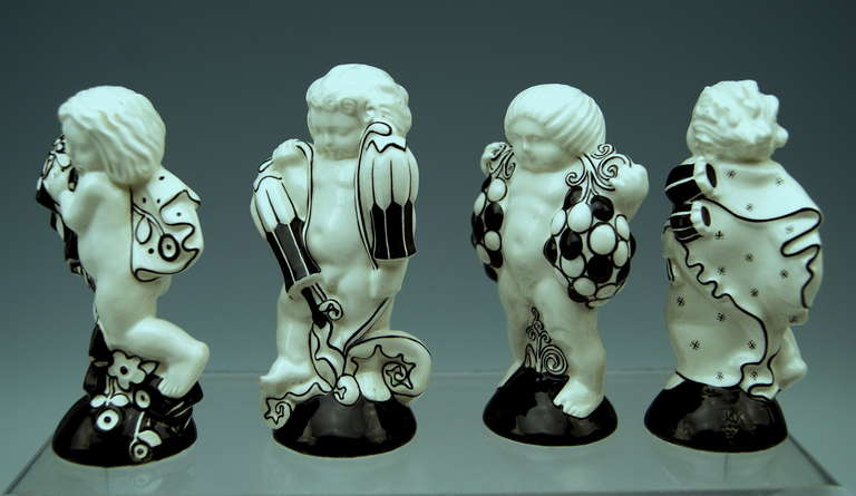 Michael Powolny Four Cherubs Seasons Lovely Figurines Made 1912 4