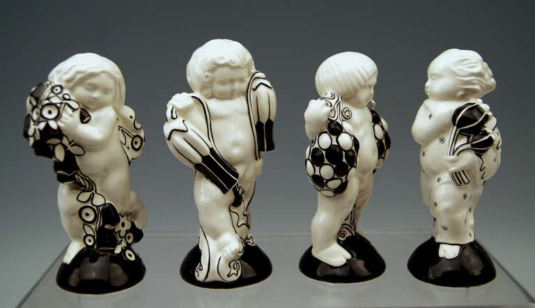 Michael Powolny Four Cherubs Seasons Lovely Figurines Made 1912 5