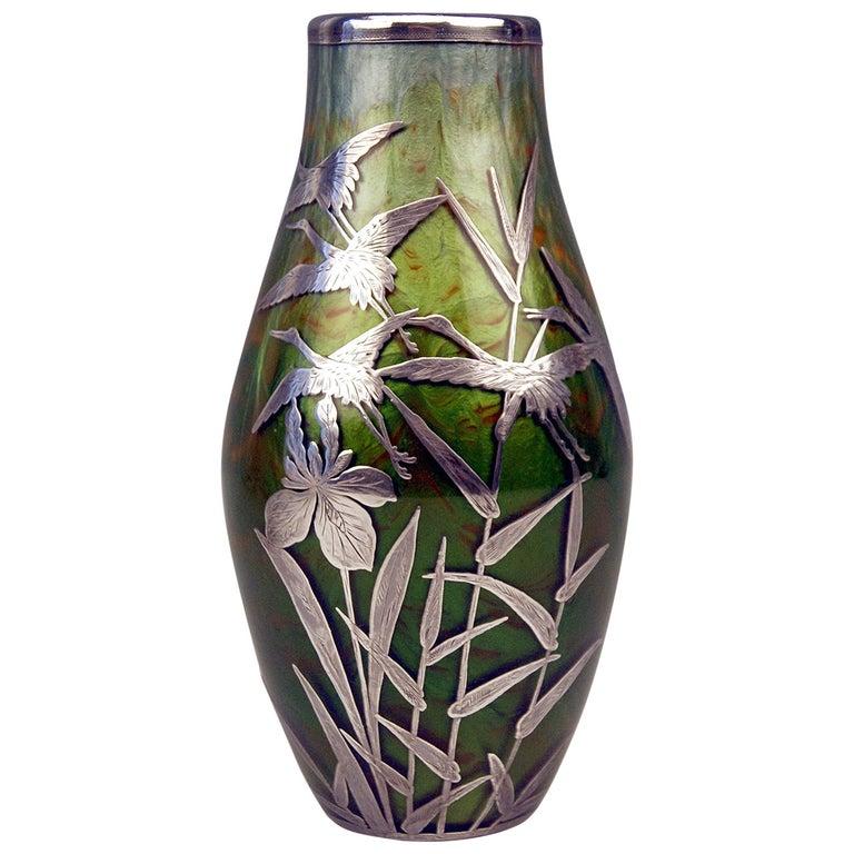 Vase Loetz Widow Art Nouveau Titania Gre 2534 with Silver Overlay, circa 1906