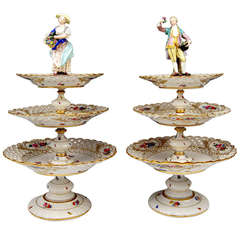 Meissen Pair of Centrepieces, Each Crowned by Sculptured Figurines circa 1870