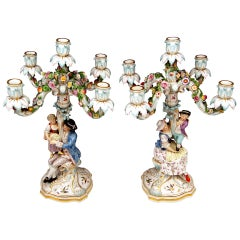 Meissen Pair of Tall Candlesticks  Each of Them Having Five Grommets circa 1870