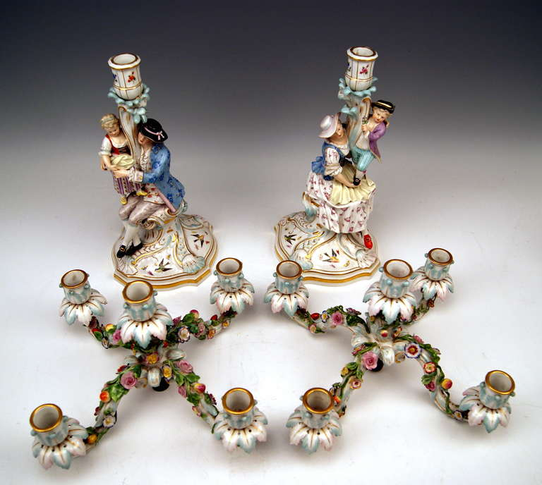 Rococo Meissen Pair of Tall Candlesticks  Each of Them Having Five Grommets circa 1870 For Sale