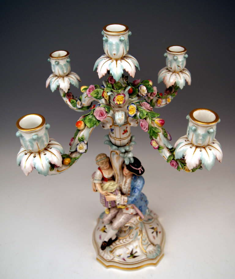 Painted Meissen Pair of Tall Candlesticks  Each of Them Having Five Grommets circa 1870 For Sale