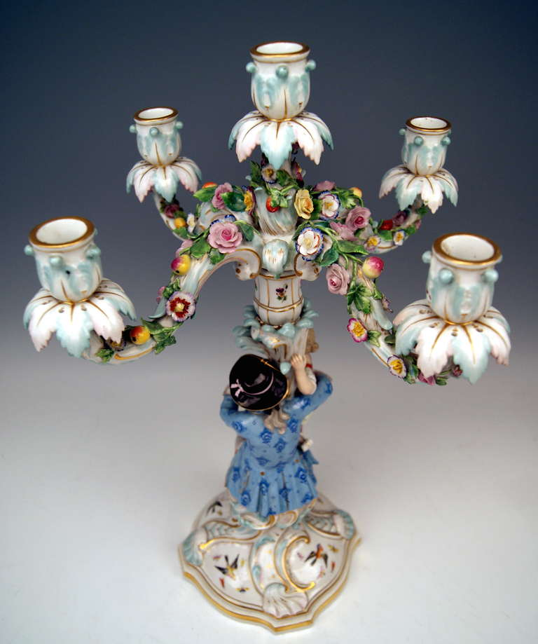 Meissen Pair of Tall Candlesticks  Each of Them Having Five Grommets circa 1870 In Excellent Condition For Sale In Vienna, AT