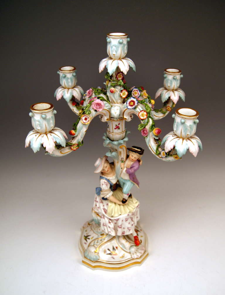 19th Century Meissen Pair of Tall Candlesticks  Each of Them Having Five Grommets circa 1870 For Sale