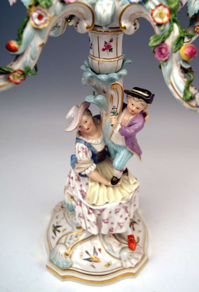 Porcelain Meissen Pair of Tall Candlesticks  Each of Them Having Five Grommets circa 1870 For Sale