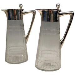 Silver Art Nouveau German Pair of Glass Decanters by Wilhelm Binder, 1900