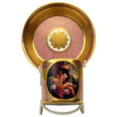 Vienna Imperial Porcelain Cup Saucer Female Nude Austria 1810-1825
