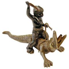 Vienna Bronze Made by Franz Bergman(n) Black Boy with Alligator c.1890 - 1900
