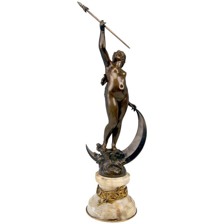 French Bronze Nicest Female Nude LUNA on Marble Base  c. 1900 - 10