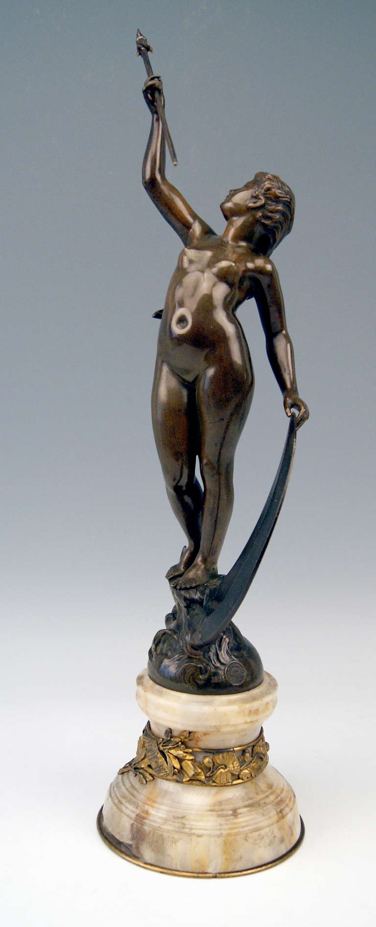 Victorian French Bronze Nicest Female Nude LUNA on Marble Base  c. 1900 - 10 For Sale