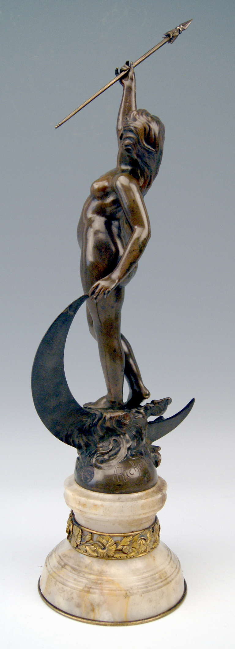 French Bronze Nicest Female Nude LUNA on Marble Base  c. 1900 - 10 In Good Condition For Sale In Vienna, AT