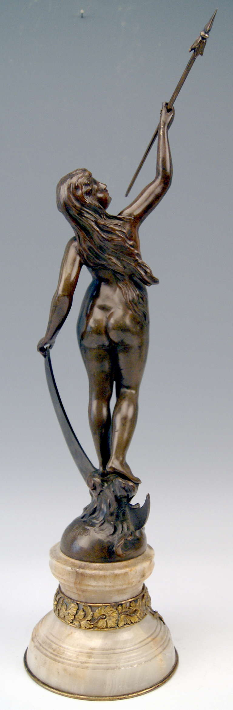 20th Century French Bronze Nicest Female Nude LUNA on Marble Base  c. 1900 - 10 For Sale