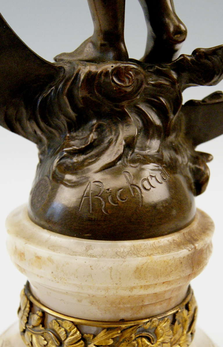French Bronze Nicest Female Nude LUNA on Marble Base  c. 1900 - 10 For Sale 3