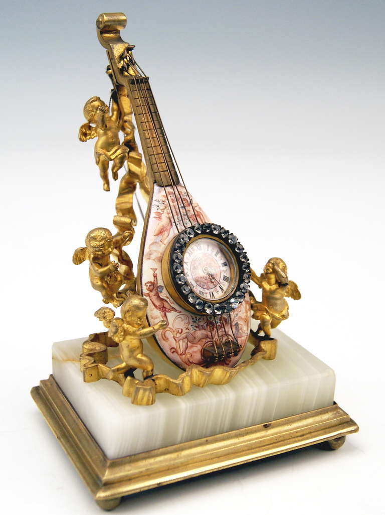 Rococo Viennese Rarest Bronze Table Clock with Cherubs / Painted with Enamel circa 1870 For Sale