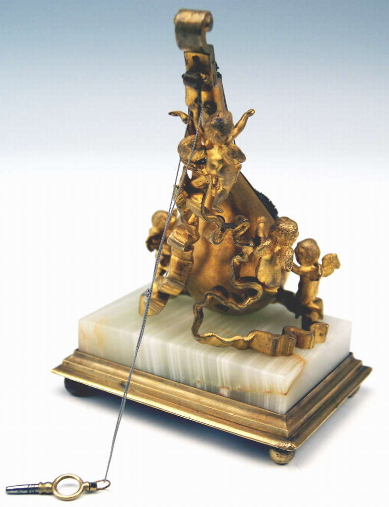 Austrian Viennese Rarest Bronze Table Clock with Cherubs / Painted with Enamel circa 1870 For Sale