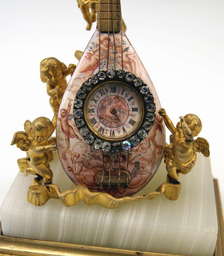 Viennese Rarest Bronze Table Clock with Cherubs / Painted with Enamel circa 1870 For Sale 2