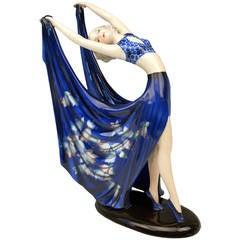 Goldscheider Vienna Lady Dancer Blue Dress by Stefan Dakon, circa 1938