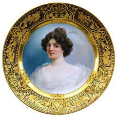 Plate Portrait of Lady German Porcelain Manufactory Vintage, circa 1900