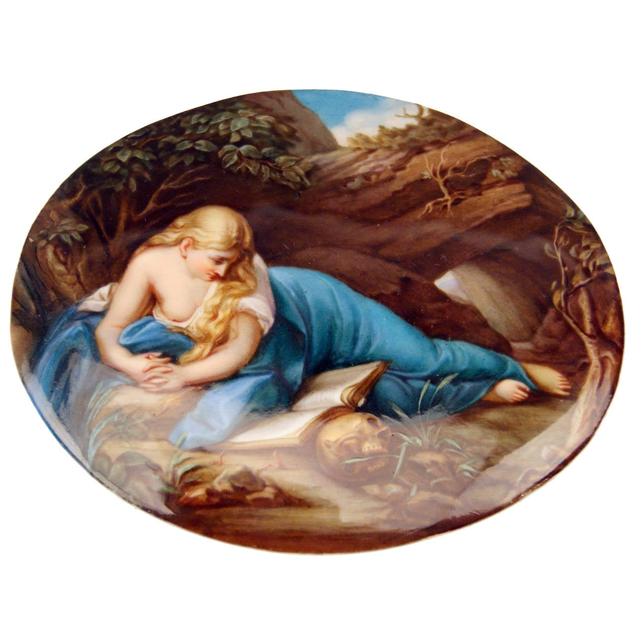 Meissen Oval Plate Painting Allegory of Perishability, circa 1870