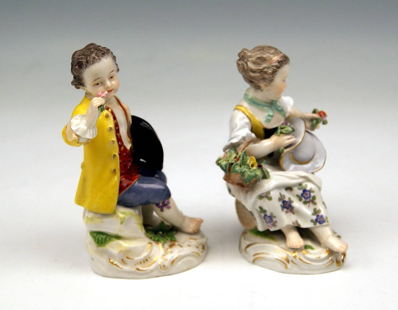 Meissen Lovely Pair of Child Gardener Figurines: