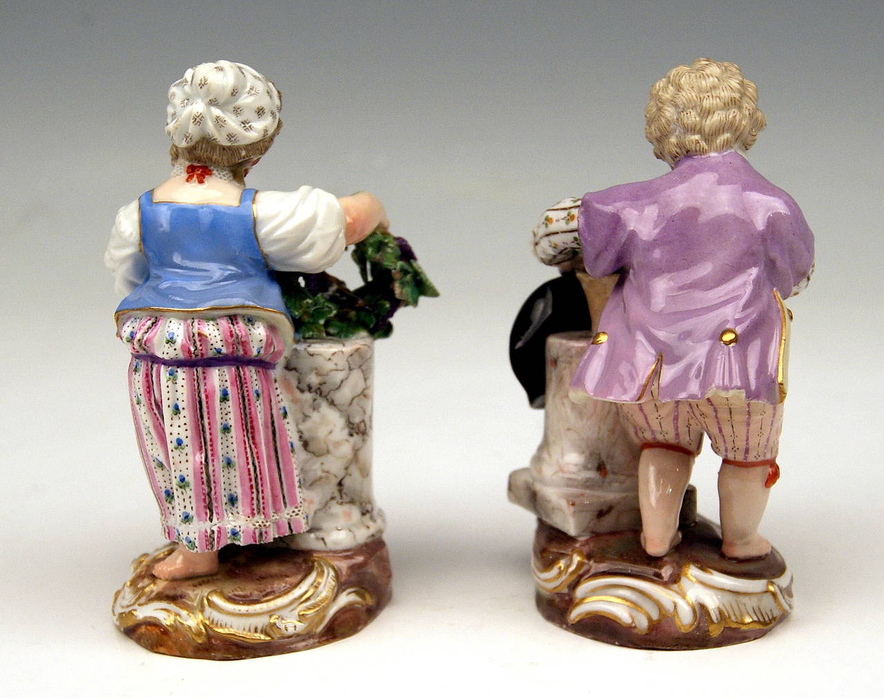 "German Meissen Two Children Seasons Figurines ""the Fall,"" Model F 24 by Acier, 1870 For Sale"