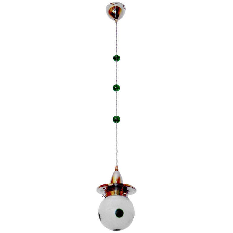 Most Elegant Art Nouveau Loetz Suspended Lamp Vienna