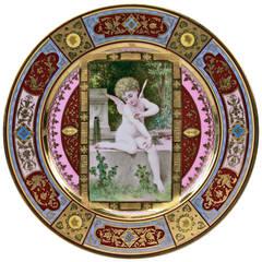 Plate Germany Thuringian Porcelain Manufactory Cherub Amor Vintage, circa 1900