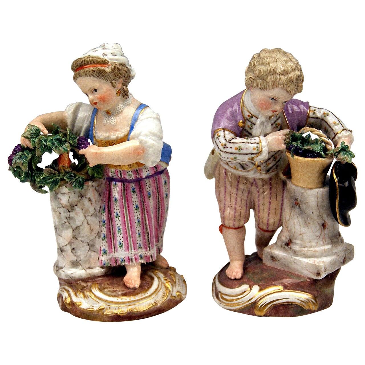 Meissen Two Children Seasons Figurines The Fall Model F 24 Acier c.1870