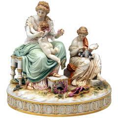 Meissen Large Mythologic Group Captivation of Cupid by Juechtzer, circa 1870
