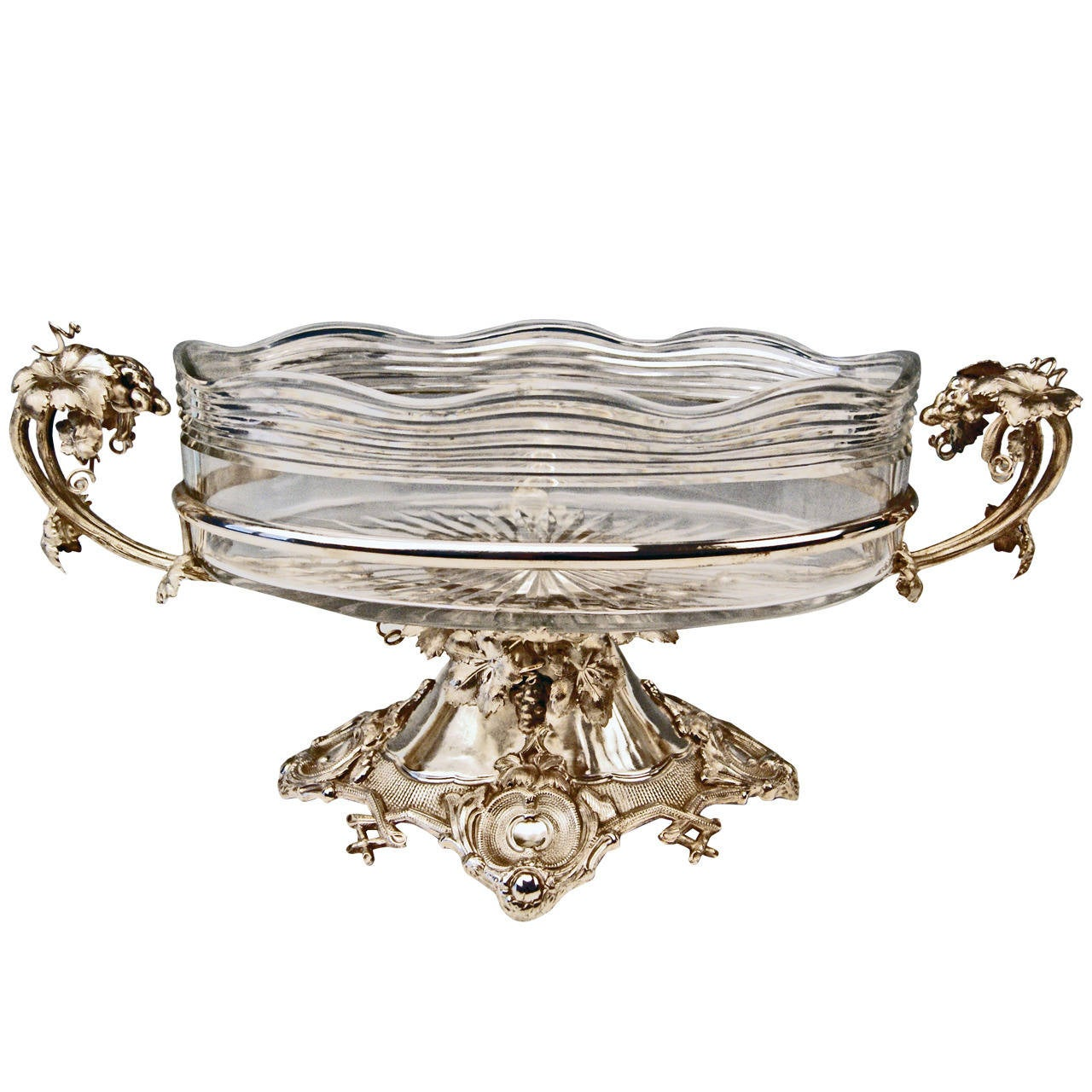 Huge German Silver Flower Bowl with Glass Liner by Nicolassen, circa 1870 1