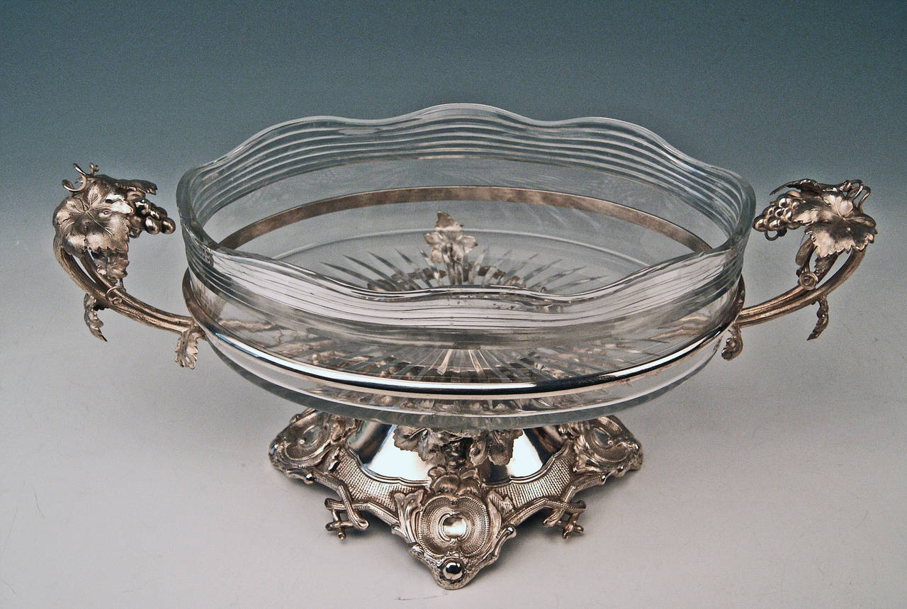Huge German Silver Flower Bowl with Glass Liner by Nicolassen, circa 1870 2