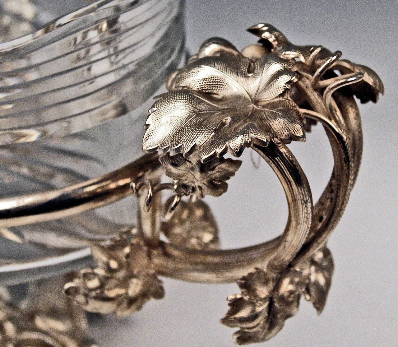 Huge German Silver Flower Bowl with Glass Liner by Nicolassen, circa 1870 3