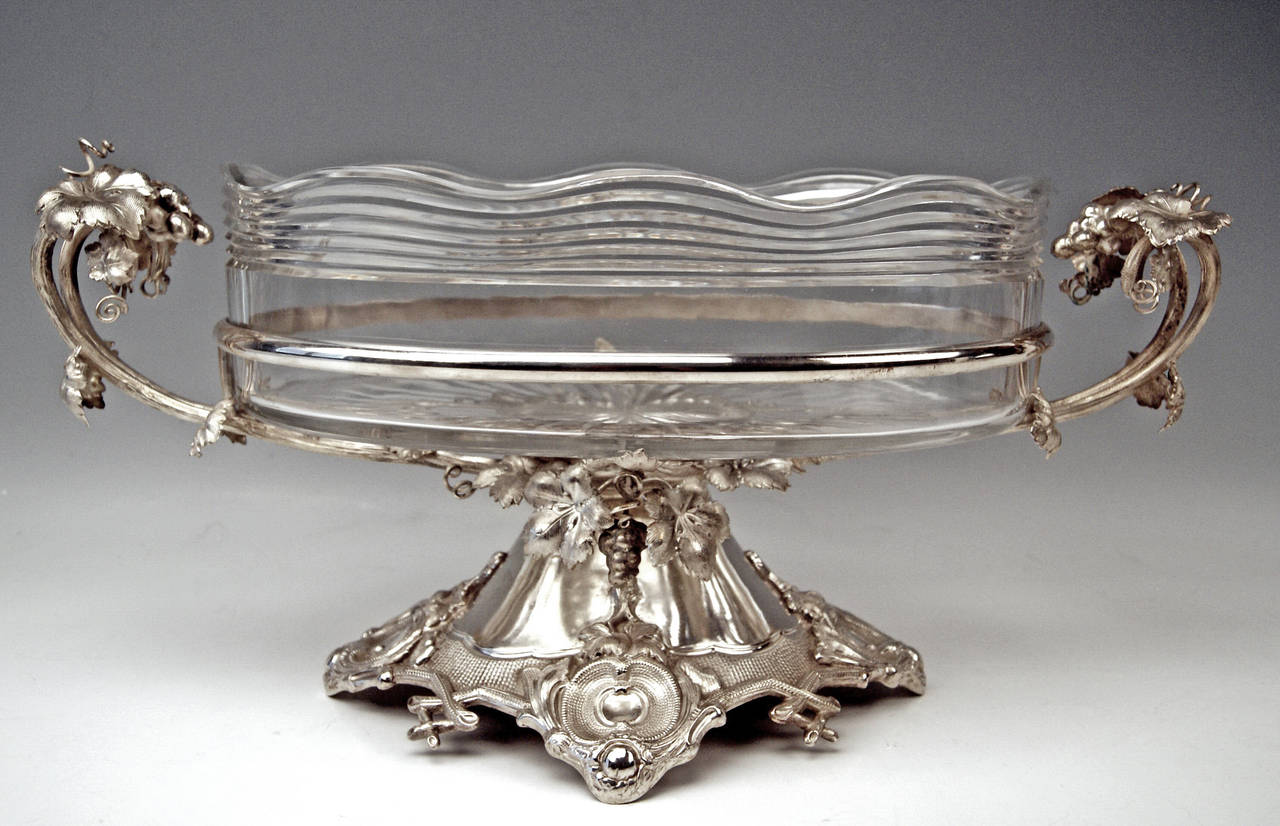 Huge German Silver Flower Bowl with Glass Liner by Nicolassen, circa 1870 In Excellent Condition For Sale In Vienna, AT