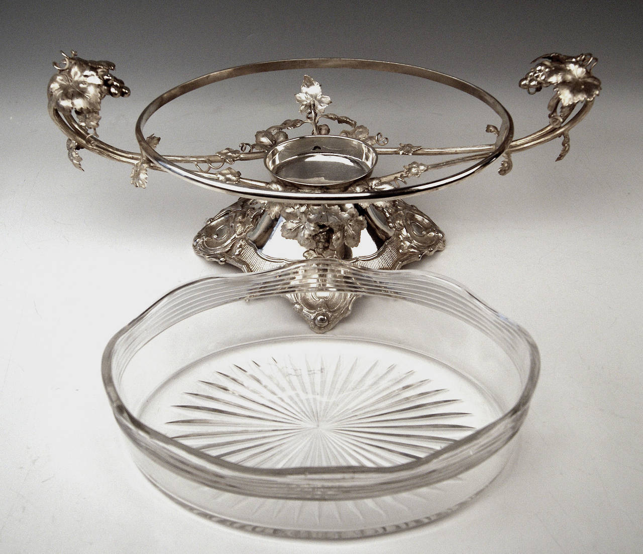 Mid-19th Century Huge German Silver Flower Bowl with Glass Liner by Nicolassen, circa 1870 For Sale