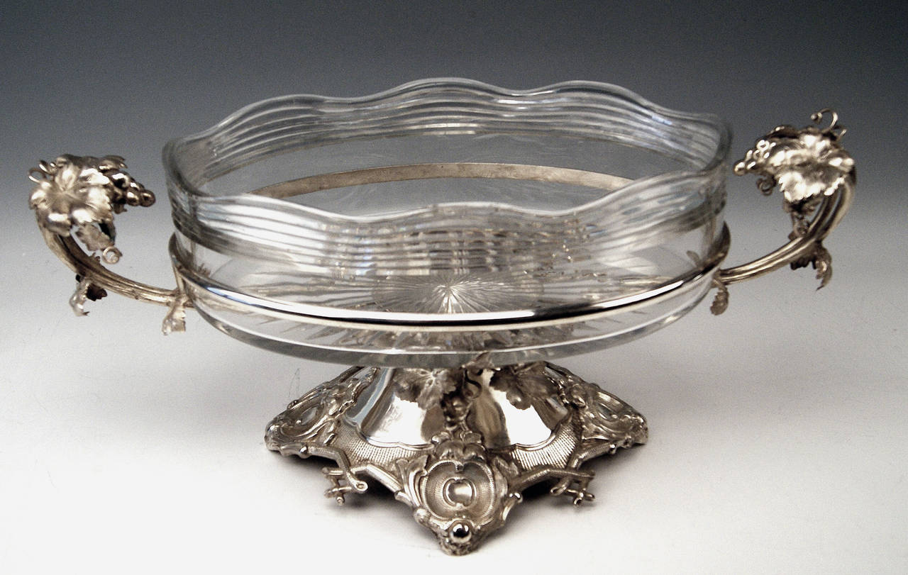 Huge German Silver Flower Bowl with Glass Liner by Nicolassen, circa 1870 For Sale 2