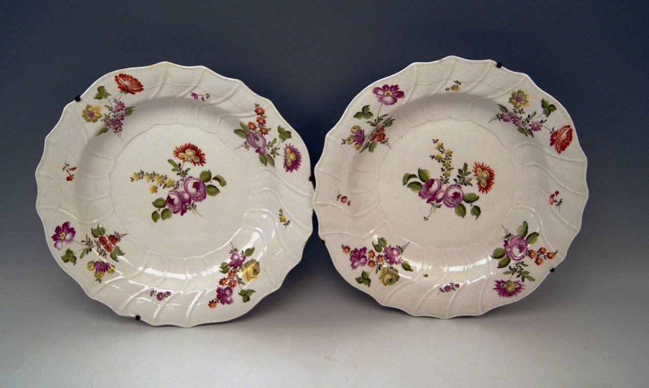A QUITE RARE PAIR OF HUGE BAROQUE PLATES DERIVING FROM VIENNESE IMPERIAL PORCELAIN MANUFACTORY Superb & Two Huge Baroque Imperial Viennese Porcelain Manufactory Plates ...