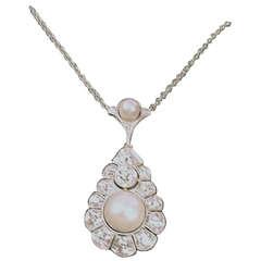 Art Deco Necklace Gold Diamonds 1.9 Carat Sea Pearls, Austria, circa 1920