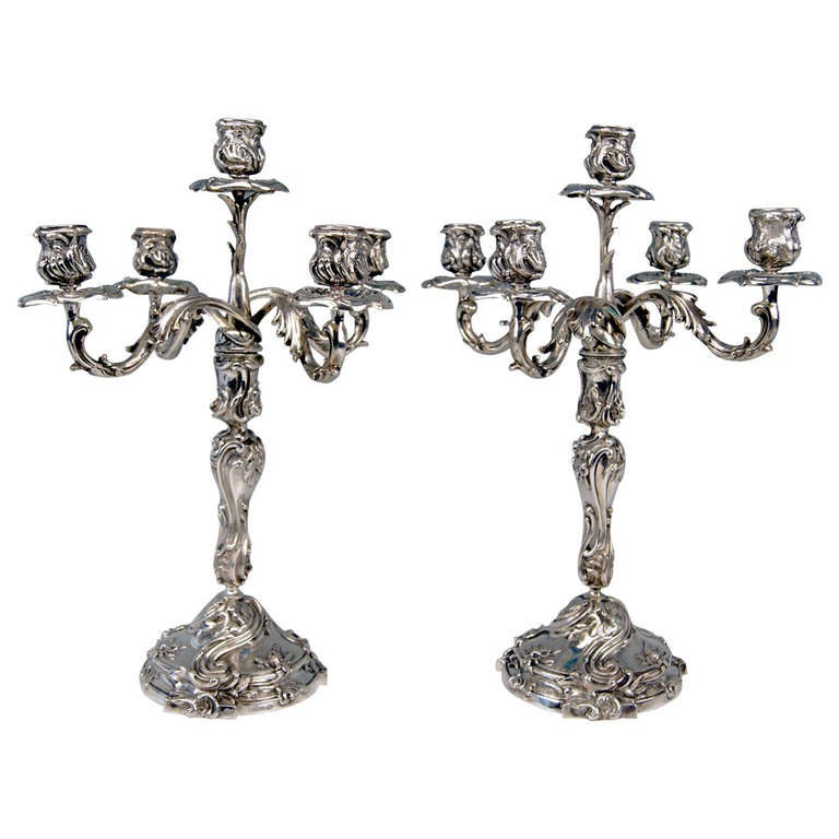 Silver Pair of Tall Candlesticks Germany, Hanau, circa 1890 For Sale