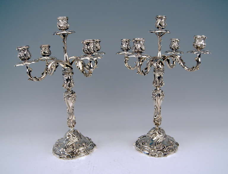 Gorgeous German Silver Pair of Tall Candlesticks of finest manufacturing quality.   They are stunningly decorated - made in following manner: VICTORIAN STYLE      Surface of   BOTH CANDLESTICKS  is abundantly ornamented with chasing  / chiselled