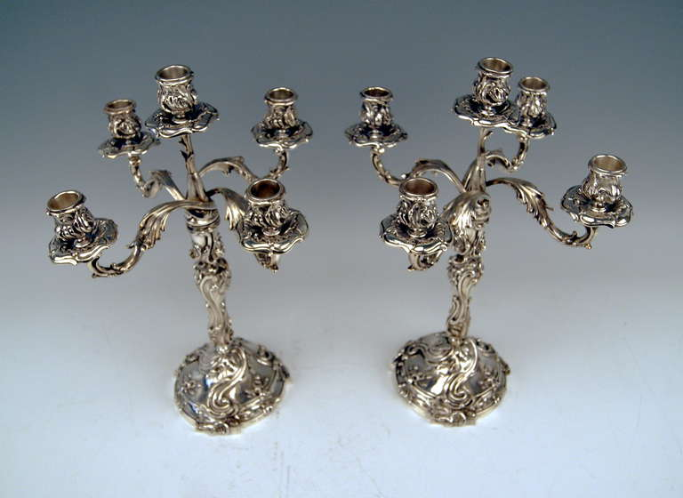 Victorian Silver Pair of Tall Candlesticks Germany, Hanau, circa 1890 For Sale