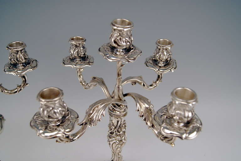 Silver Pair of Tall Candlesticks Germany, Hanau, circa 1890 In Excellent Condition For Sale In Vienna, AT