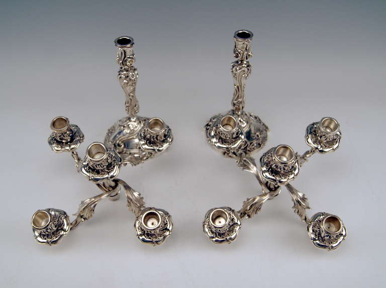 Silver Pair of Tall Candlesticks Germany, Hanau, circa 1890 For Sale 1