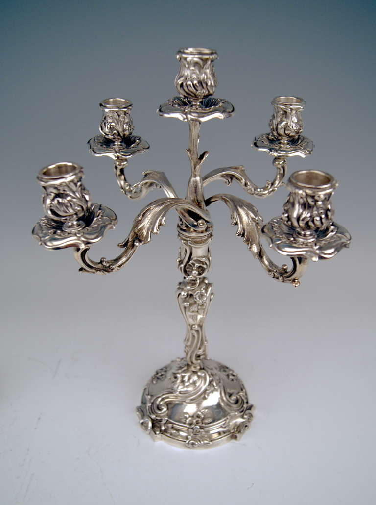 Silver Pair of Tall Candlesticks Germany, Hanau, circa 1890 For Sale 3