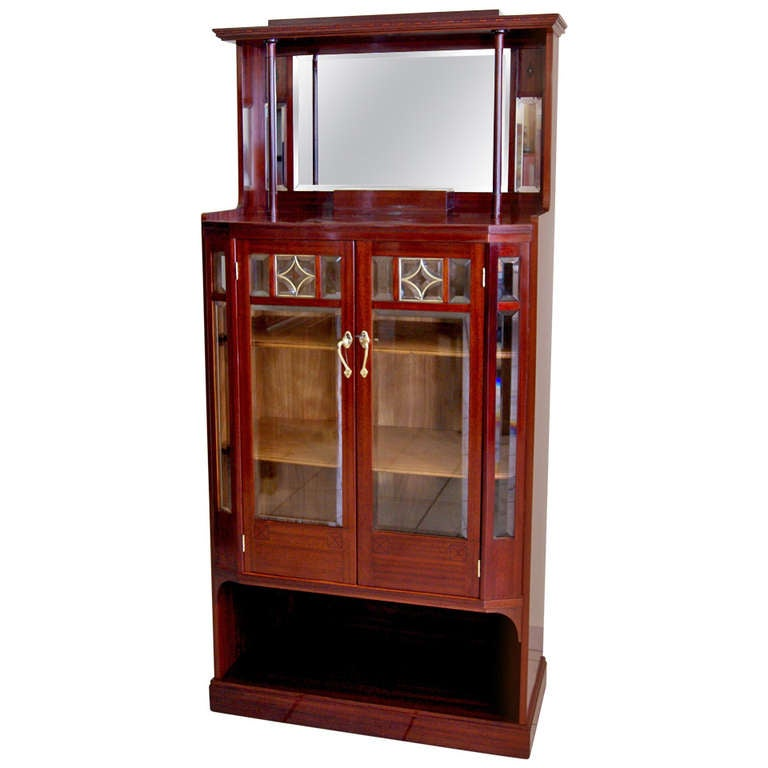 Art Nouveau Vertiko Glass Cabinet with Doors, Vienna, circa 1900 For Sale