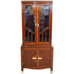 Art Nouveau Cabinet Cupboard with Glass Doors by E. Trinkl, Vienna, circa 1905